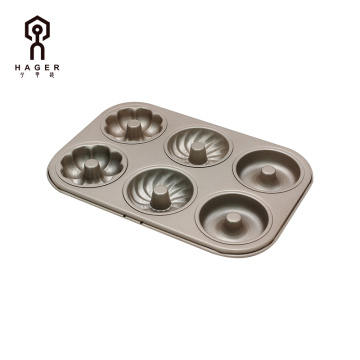 6x Three-type Doughnut Mold
