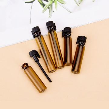 100pcs/lot 1ML 2ML Amber Glass Bottle Perfume Empty Bottles Sample Glass Vials Small Promotion Oil Bottle