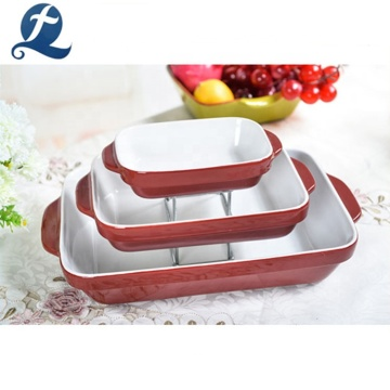 Durable Microwave Safe Eco Friendly Ceramic Loaf Baking Pan Set