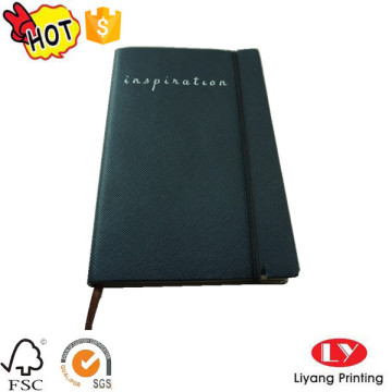 Leather notebook embossed printing with elactic