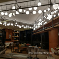 Hotel lobby white ball glass led chandelier lights