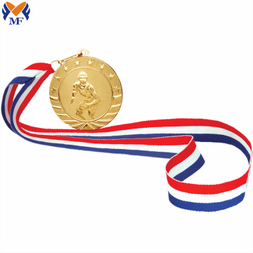 High quality custom ribbon gold event medals