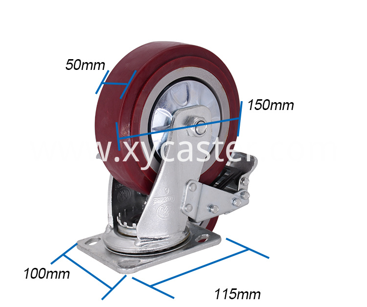 6 Inch Pvc Caster With Brake