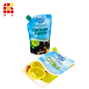 Laminated Plastic Bags Dishwashing Liquid Refill Stand Up Pouch