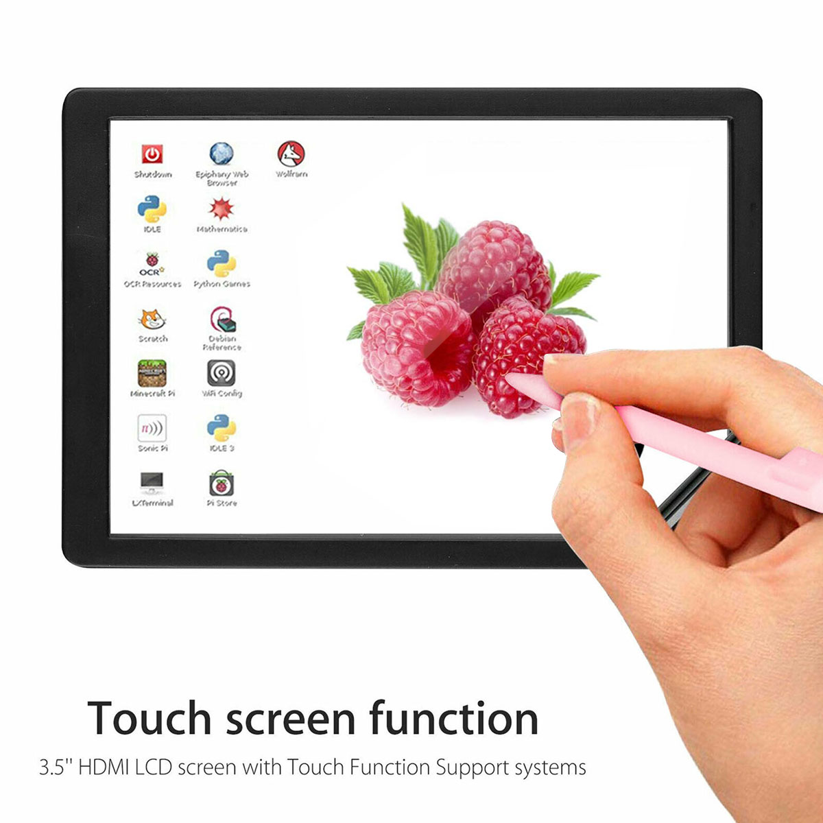 3.5inch HDMI-compatible TFT LCD Touch Screen LCD Display Monitor with ABS Case Touch Pen Input Kit for Raspberry Pi 4 B