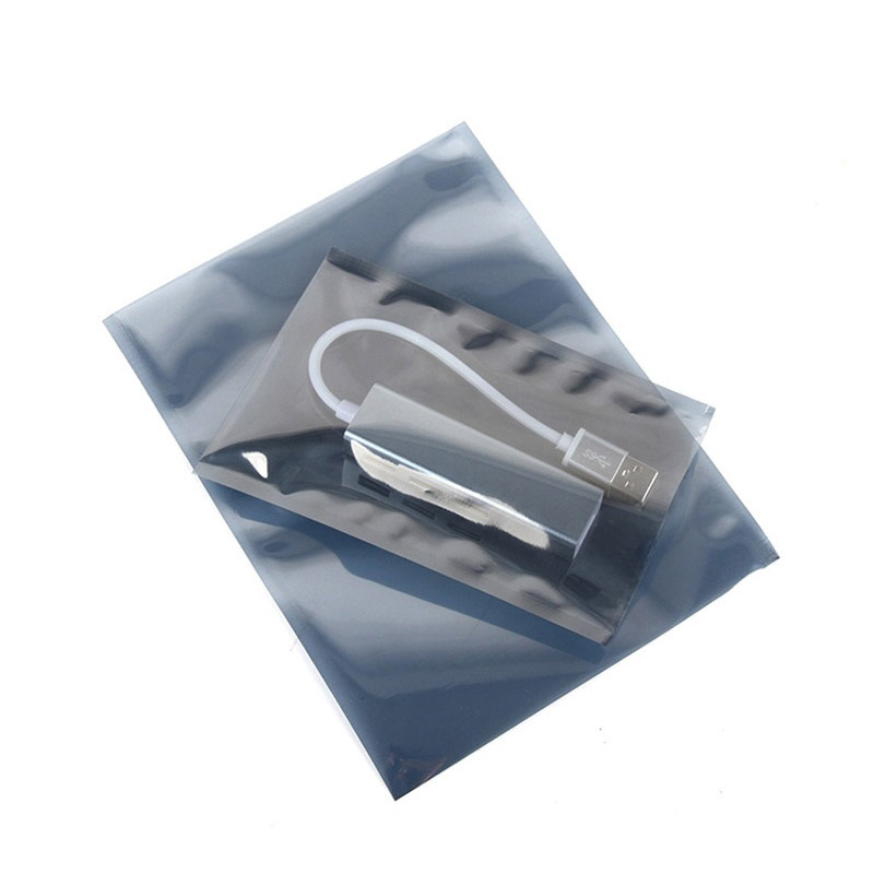 Open Top Gray Transparent Electronic Accessories Shielding Anti Static Package Bags Antistatic Packaging Bag