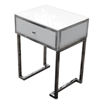 1 Drawer Bedside White Glass Metal Frame