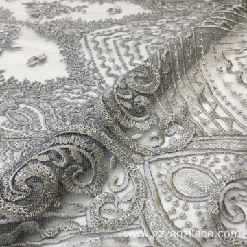 Izindwangu ze-Grey Shine Sequin Flower Embroidery