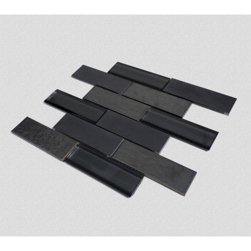 Black match-shaped luxury mosaic tiles