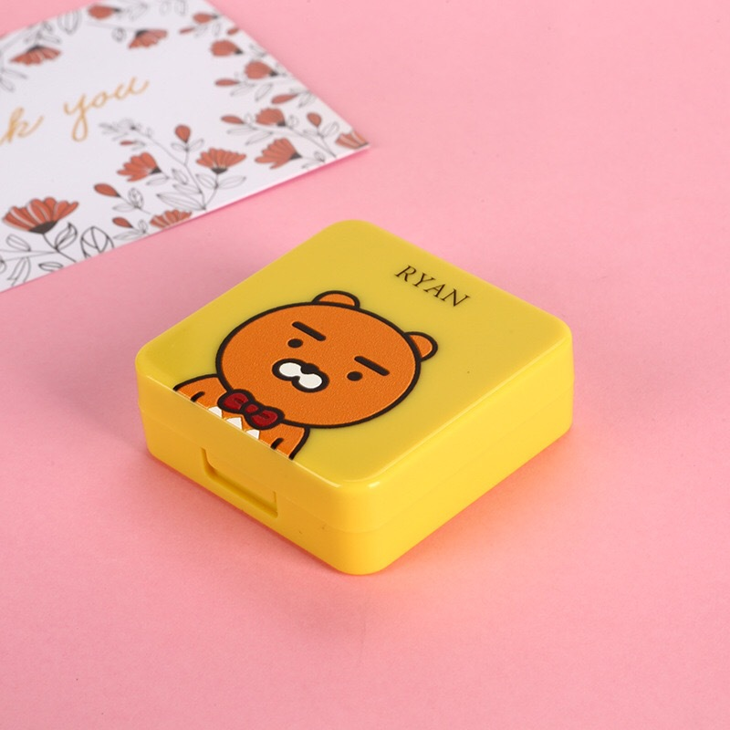 Pink Peach Square Contact lens case Cartoon Small fresh contact lens case travel glasses case as gift Contact lens care box