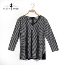 V-neck Fashion Breathable Black White Striped Autumn Womens Shirts