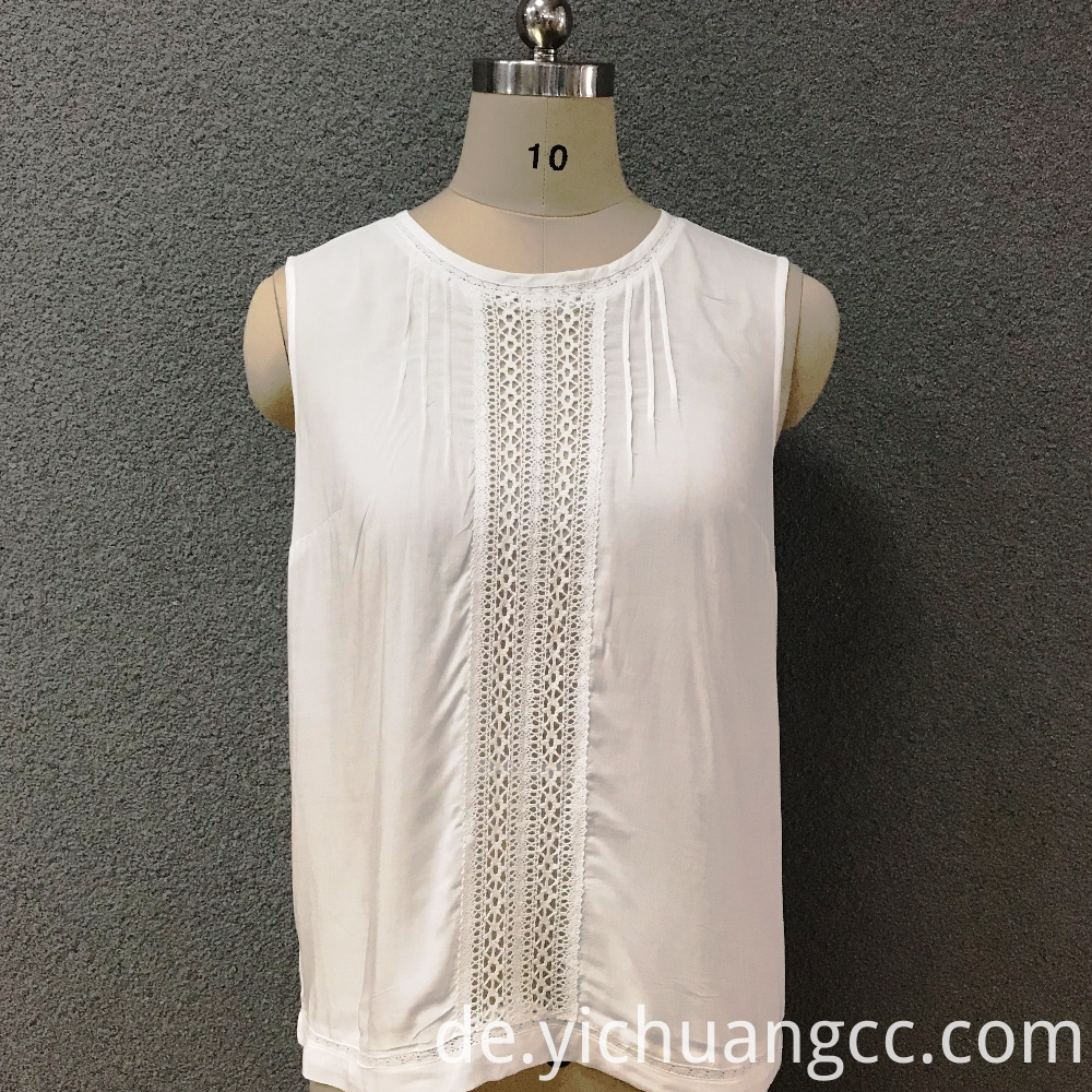Women's cotton lace white top