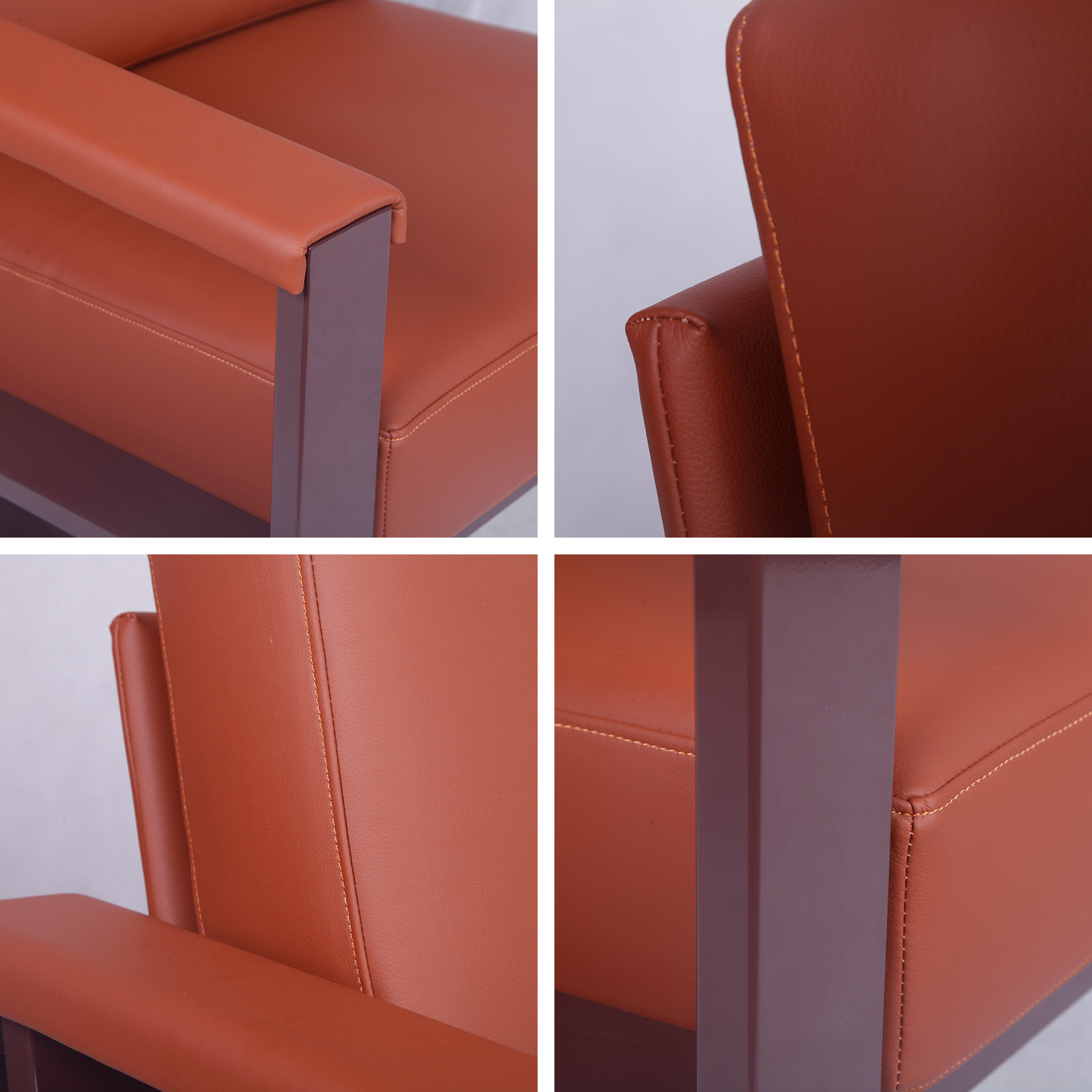 Detail-of-Strong-Metal-Frame-Leather-Armchair