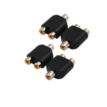 4pcs RCA to 2 RCA Female to Female Audio Video Cable Nickel Plating RCA Y Adapter for Home Theater DVD TV Amplifier CD Soundbox