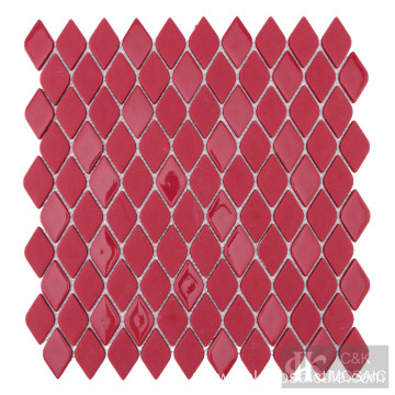 Red glass mosaic tiles for kitchen