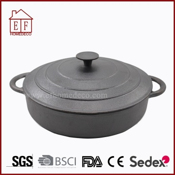 Cast iron casserole cookware with lid