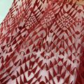 Red Trisngle Pattern Embroidery Fabric On Tone