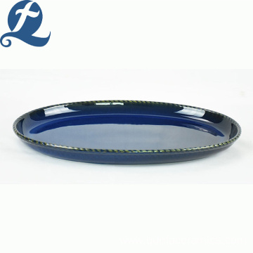 Custom Design Tableware Food Grade Pure Blue Ceramic Elliptical Disk