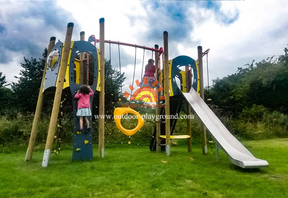 outdoor plastic climbing slide playground structure for children