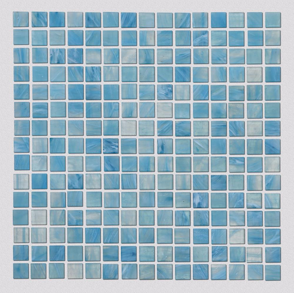 Blue Watercolor Patterned Glass Mosaic Tiles