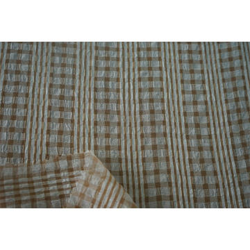 Polyester CDC Multi Color Satin Stripe check Fabric