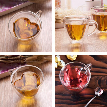 Originality Heart Shaped Coffee Cup Lead Free Glass Double Wall Transparent Milk Oats Household Breakfast Cup Black Tea Teacup