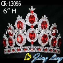 5 Inch Red Rhinestone Silver Plated Crowns