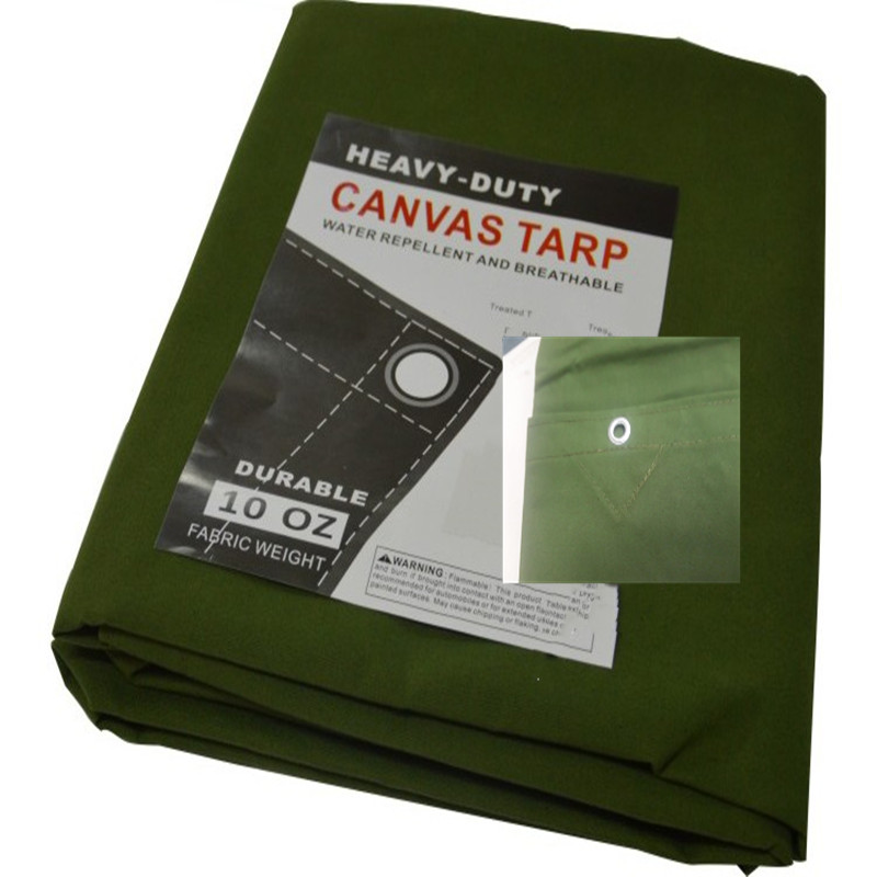 Olive cotton canvas tarpaulin