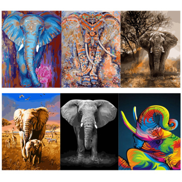 Animals Oil Painting By Numbers For Adults Elephant Paints By Number Canvas Painting Kits 50x40cm DIY Gift Home Decor