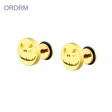 Mini gold plated halloween pumpkin stud earrings