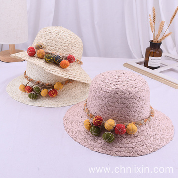 Children beanie hat beach straw hat