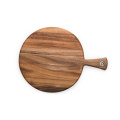 Round Flat Acacia Wood Pizza Tray for restaurant