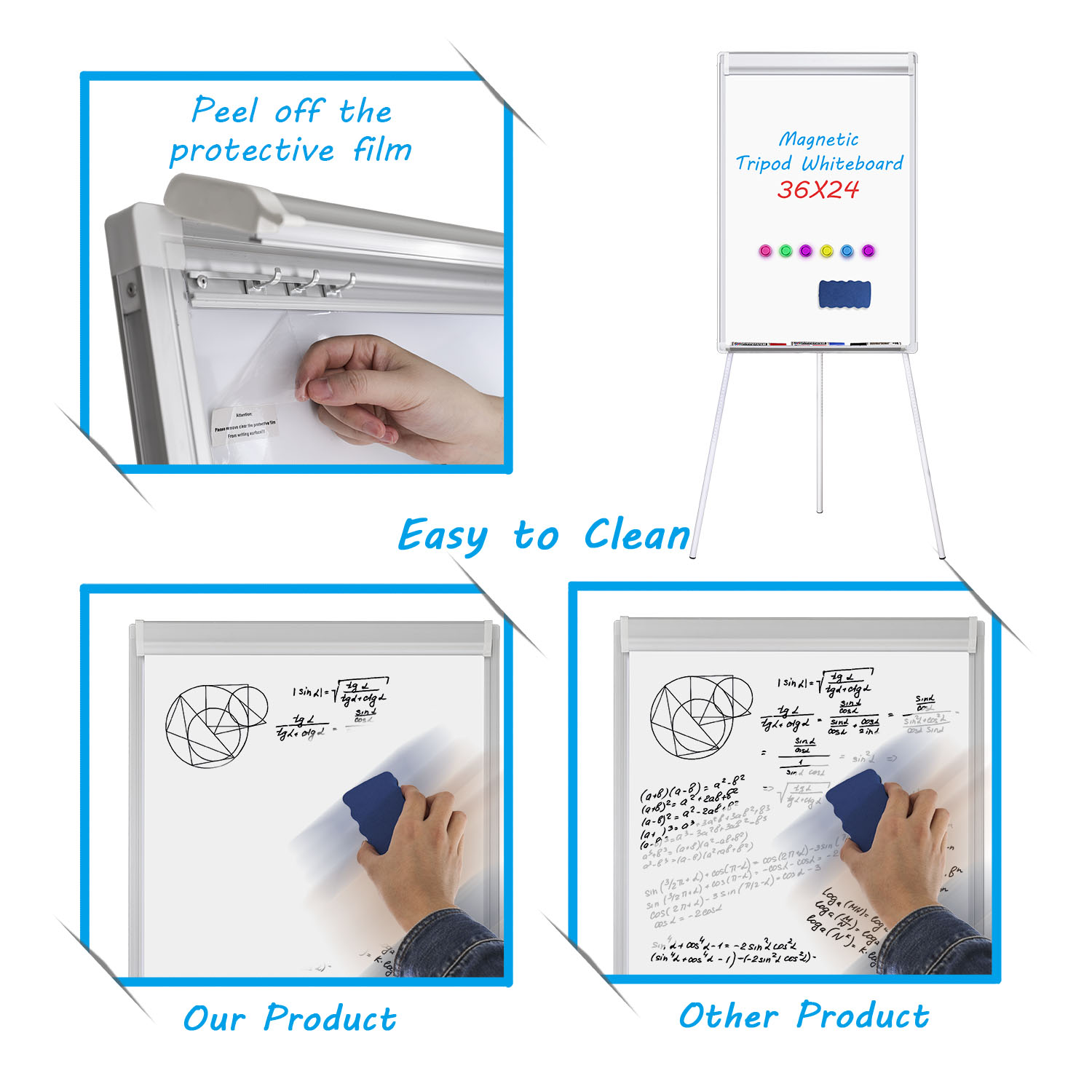 Home magnetic writing flipchart easel