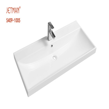Factory prices rectangular solid surface vanity top sink one piece basin