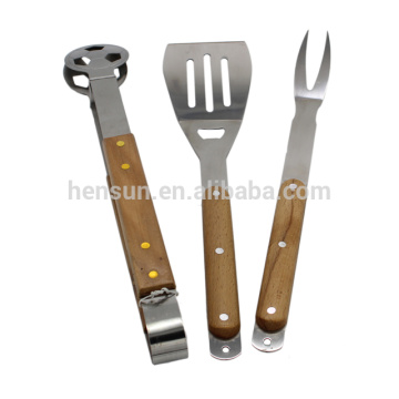 Wooden Handle 3pcs Stainless Steel BBQ Tools Set