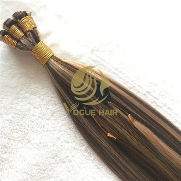 P#4/8 hand tied weft remy cuticle hair extensions