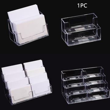 Portable Display Stand Business Card Holder Transparent Multilayer Home Office School Storage Shelf Desktop Dispenser Landscape