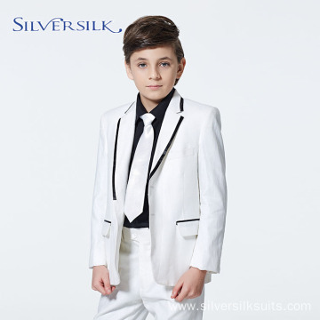 Straight White Boys Tuxedo Jacket Pants Kids Suit