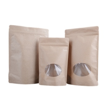 Kraft Paper Stand Up Pouch Bag with Window