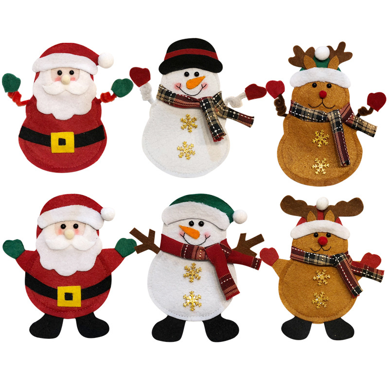 6pcs Christmas Decorations Snowman Kitchen Tableware Holder Bag Party Gift Xmas Ornament Christmas Decorations for Home Table