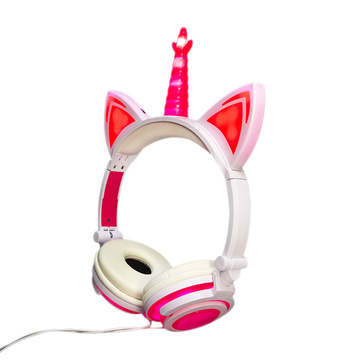 Oem stereo fold light up unicorn 3.5mm headphone