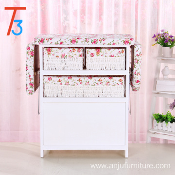 home furniture ironing board wooden cabinet with wicker drawer
