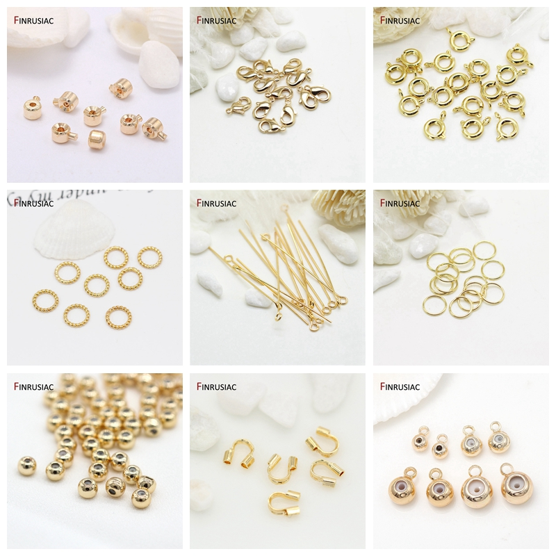 14k Real Gold Plated 3mm/4mm/5mm/6mm Positioning End Beads DIY Making Jewelry Chain Connector Accessory Findings