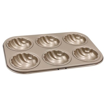 6-cavity non-stick spherical shell madeline bakeware