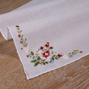 Delicate cotton red rose handkerchief embroidery