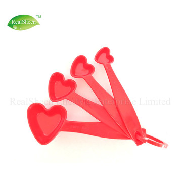 4 Piece Heart Shaped Measuring Spoons Set