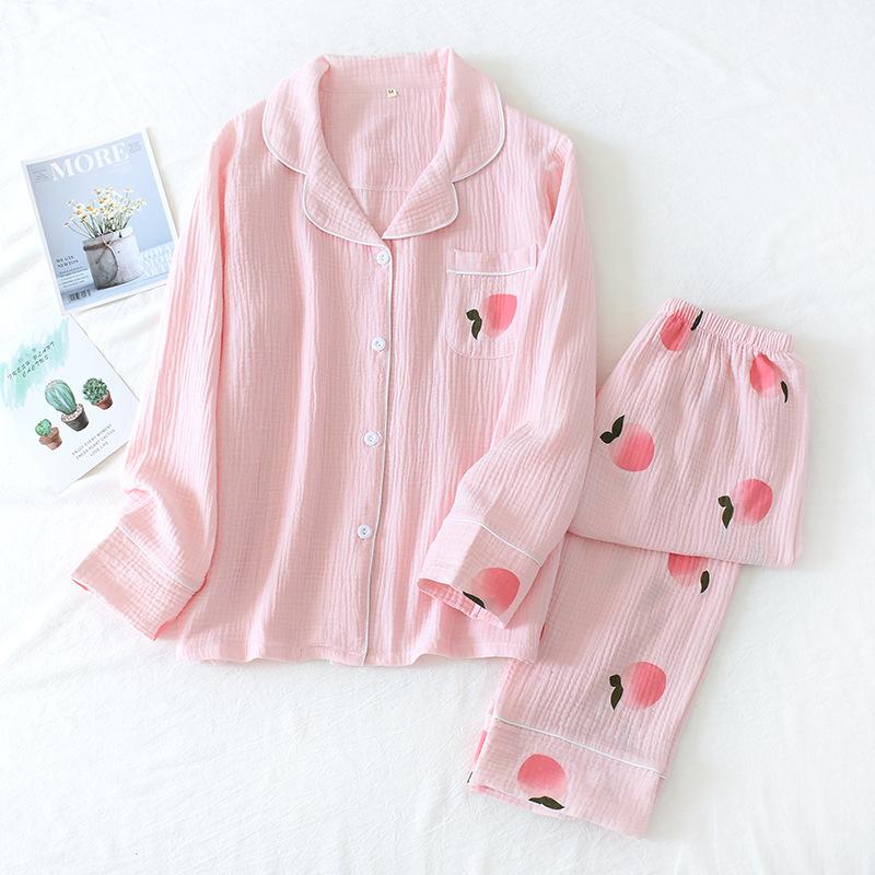 sweet fresh peach sleepwear women pajamas sets 100% cotton soft comfortable long sleeve nightwear ladies pyjamas home suit Y047