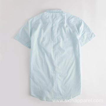 Blue Men's 100% Poplin Cotton Short Sleeve Shirt
