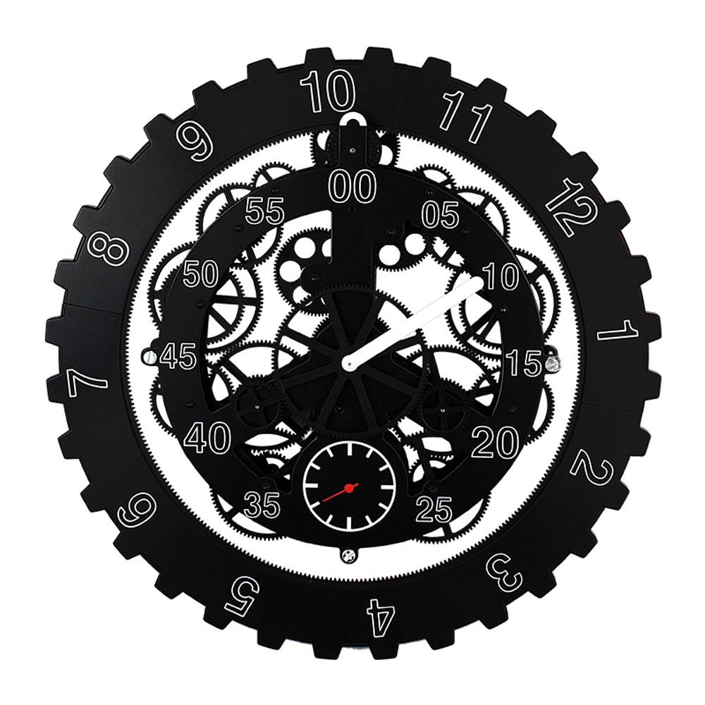 Black Tire-shape Gear Wall Clock Large