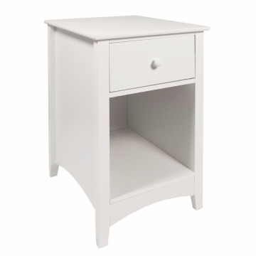 Wooden Bedside Chest with Drawers Bedside Chest with Drawer and Shelf Cabinet Table Storage Unit, 38 x 44 x 58 cm, White